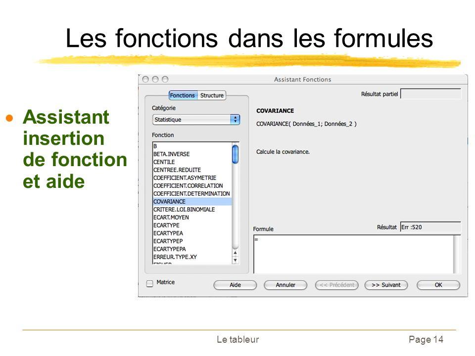 Le tableurPage 14 Les fonctions dans les formules Assistant insertion de fonction et aide