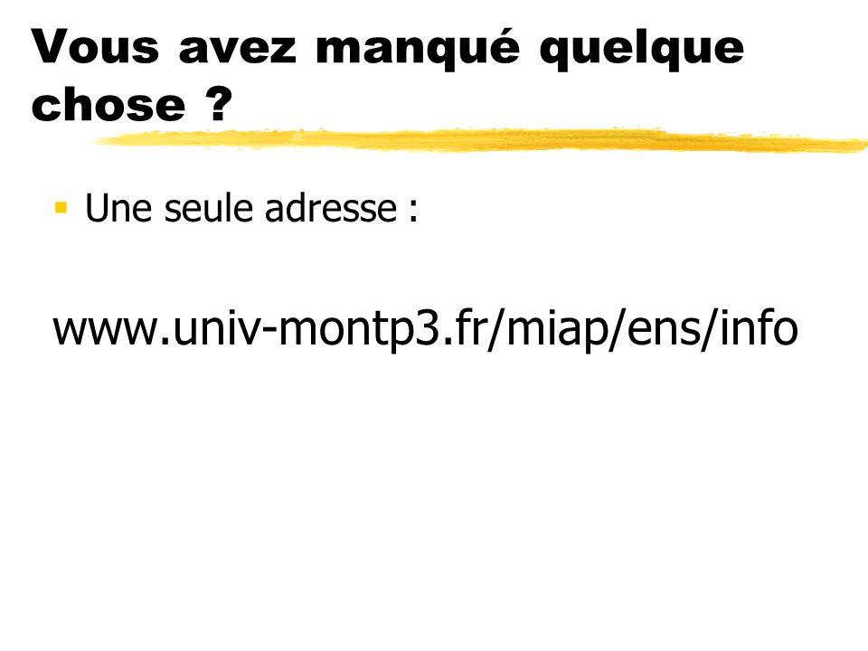Vous avez manqué quelque chose Une seule adresse : www.univ-montp3.fr/miap/ens/info