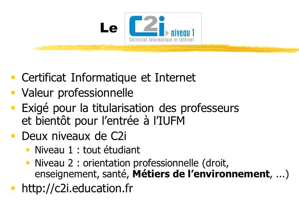 Le Certificat Informatique et Internet Valeur professionnelle Exigé pour la titularisation des professeurs et bientôt pour lentrée à lIUFM Deux niveau
