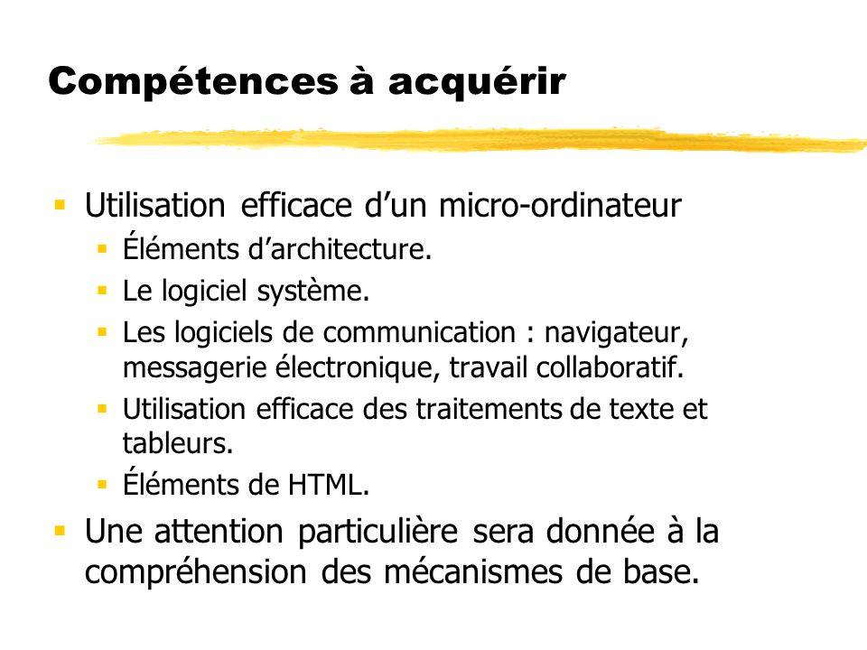 Compétences à acquérir Utilisation efficace dun micro-ordinateur Éléments darchitecture.