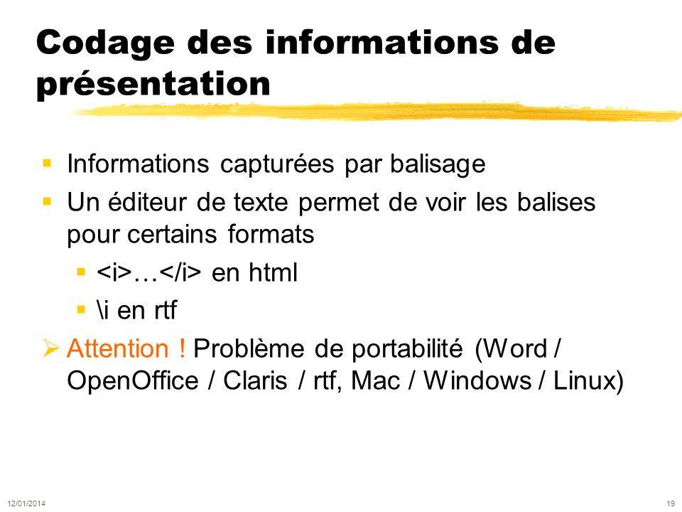 Codage des informations de présentation Informations capturées par balisage Un éditeur de texte permet de voir les balises pour certains formats … en html \i en rtf Attention .