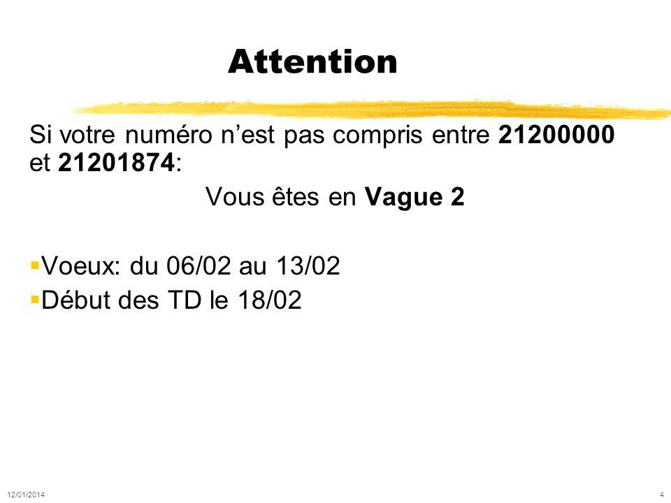 Attention Si votre numéro nest pas compris entre 21200000 et 21201874: Vous êtes en Vague 2 Voeux: du 06/02 au 13/02 Début des TD le 18/02 12/01/2014 4