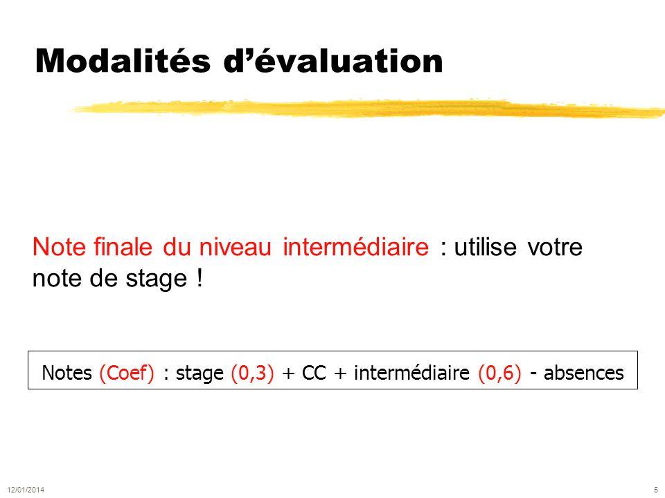 Modalités dévaluation Note finale du niveau intermédiaire : utilise votre note de stage .