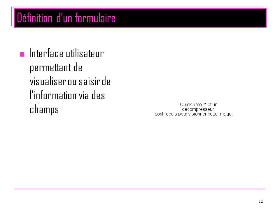 12 Définition dun formulaire Interface utilisateur permettant de visualiser ou saisir de linformation via des champs