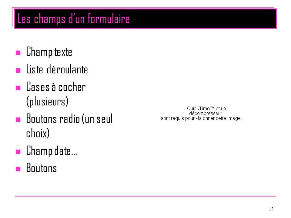 13 Les champs dun formulaire Champ texte Liste déroulante Cases à cocher (plusieurs) Boutons radio (un seul choix) Champ date… Boutons