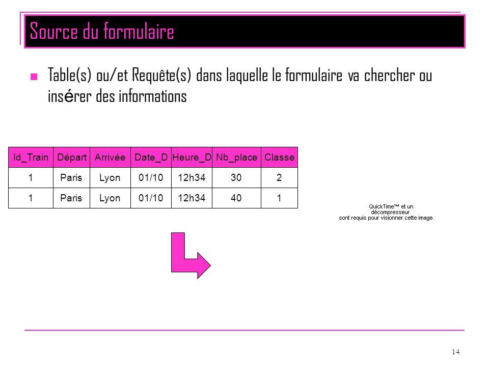 14 Source du formulaire Table(s) ou/et Requête(s) dans laquelle le formulaire va chercher ou ins é rer des informations DépartArrivéeDate_DHeure_DNb_p