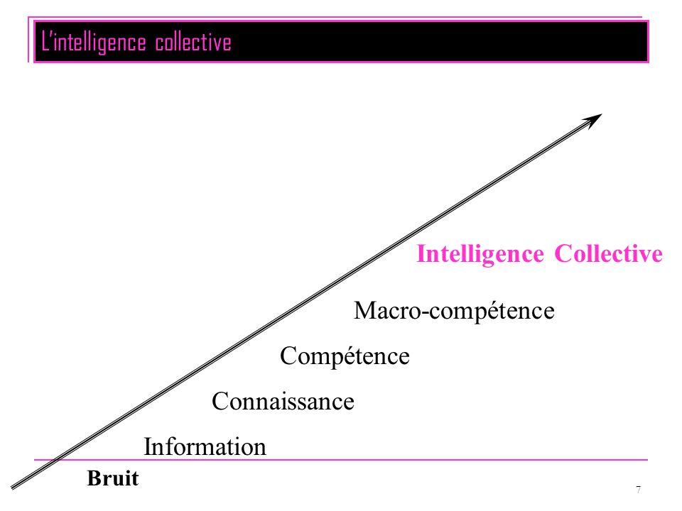 7 Bruit Information Connaissance Compétence Macro-compétence Intelligence Collective Lintelligence collective