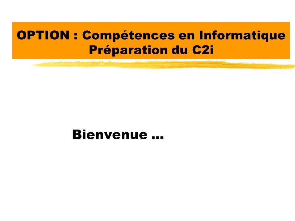 OPTION : Compétences en Informatique Préparation du C2i Bienvenue...