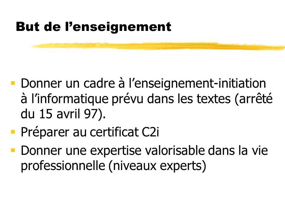 But de lenseignement Donner un cadre à lenseignement-initiation à linformatique prévu dans les textes (arrêté du 15 avril 97).