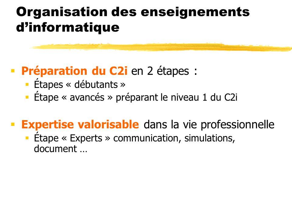 Organisation des enseignements dinformatique Préparation du C2i en 2 étapes : Étapes « débutants » Étape « avancés » préparant le niveau 1 du C2i Expertise valorisable dans la vie professionnelle Étape « Experts » communication, simulations, document …