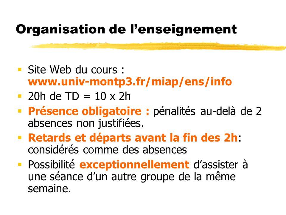 Organisation de lenseignement Site Web du cours : www.univ-montp3.fr/miap/ens/info 20h de TD = 10 x 2h Présence obligatoire : pénalités au-delà de 2 absences non justifiées.
