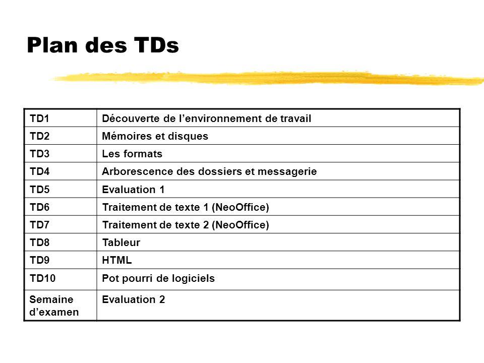 Plan des TDs TD1Découverte de lenvironnement de travail TD2Mémoires et disques TD3Les formats TD4Arborescence des dossiers et messagerie TD5Evaluation 1 TD6Traitement de texte 1 (NeoOffice) TD7Traitement de texte 2 (NeoOffice) TD8Tableur TD9HTML TD10Pot pourri de logiciels Semaine dexamen Evaluation 2