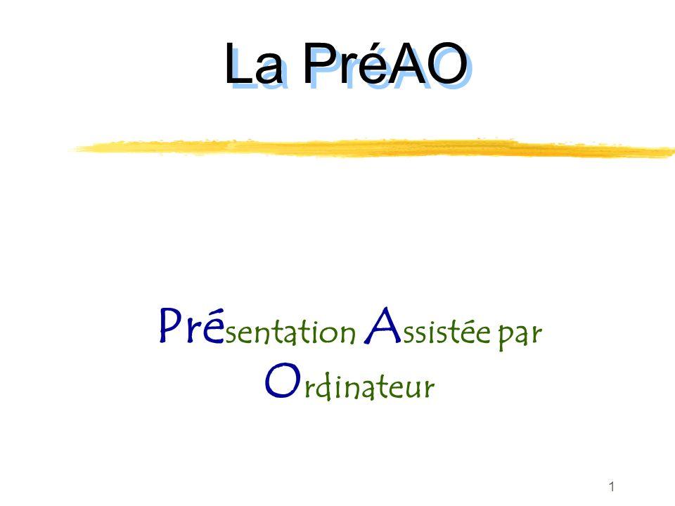 1 La PréAO Pré sentation A ssistée par O rdinateur
