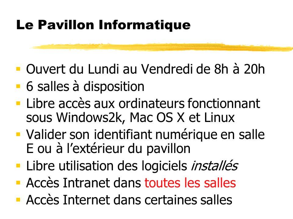 Le Pavillon Informatique Ouvert du Lundi au Vendredi de 8h à 20h 6 salles à disposition Libre accès aux ordinateurs fonctionnant sous Windows2k, Mac O