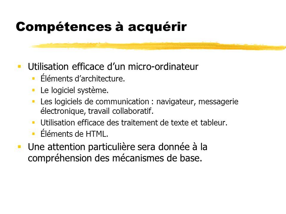 Compétences à acquérir Utilisation efficace dun micro-ordinateur Éléments darchitecture. Le logiciel système. Les logiciels de communication : navigat