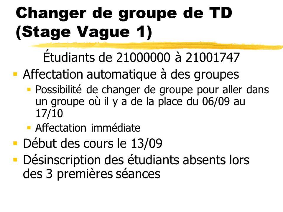 Changer de groupe de TD (Stage Vague 1) Étudiants de 21000000 à 21001747 Affectation automatique à des groupes Possibilité de changer de groupe pour a