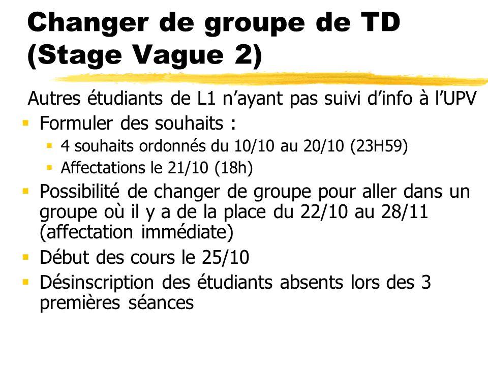 Changer de groupe de TD (Stage Vague 2) Autres étudiants de L1 nayant pas suivi dinfo à lUPV Formuler des souhaits : 4 souhaits ordonnés du 10/10 au 2