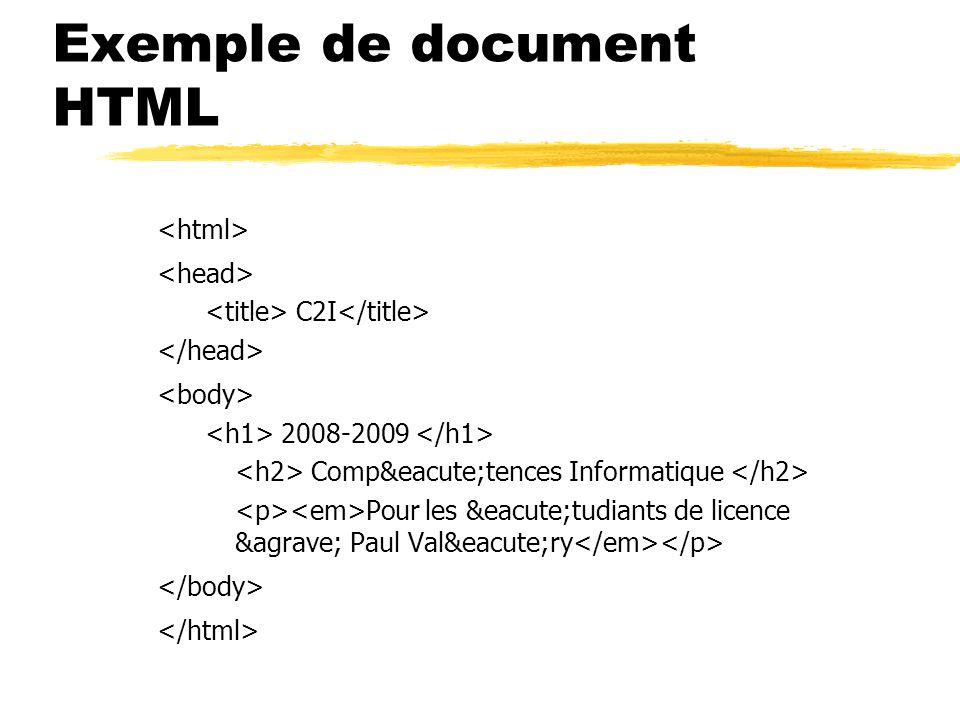 Exemple de document HTML C2I 2008-2009 Compétences Informatique Pour les étudiants de licence à Paul Valéry