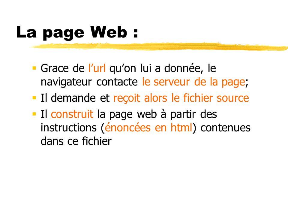La page Web : Grace de lurl quon lui a donnée, le navigateur contacte le serveur de la page; Il demande et reçoit alors le fichier source Il construit