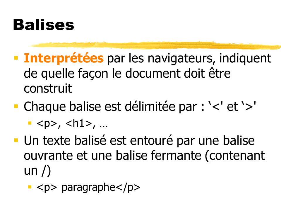 Balises Interprétées par les navigateurs, indiquent de quelle façon le document doit être construit Chaque balise est délimitée par : ',, … Un texte b