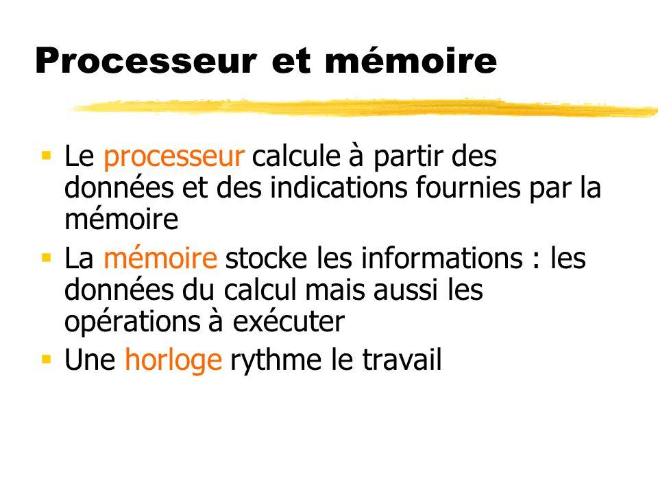 Processeur et mémoire Le processeur calcule à partir des données et des indications fournies par la mémoire La mémoire stocke les informations : les d