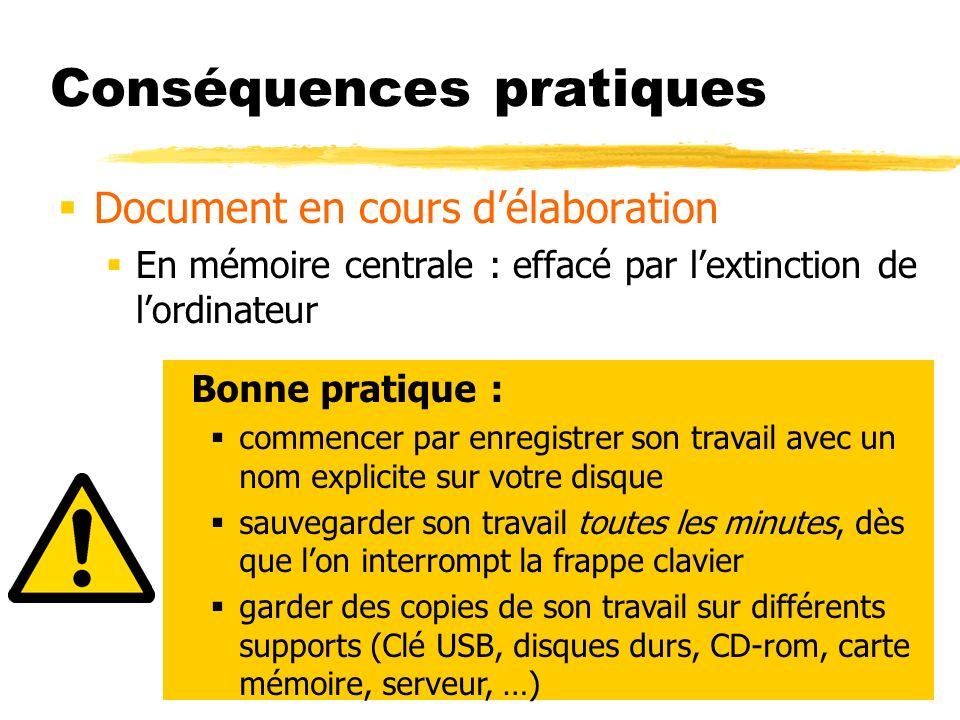 Conséquences pratiques Document en cours délaboration En mémoire centrale : effacé par lextinction de lordinateur Bonne pratique : commencer par enreg