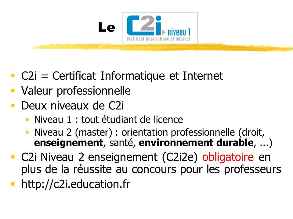 Le C2i = Certificat Informatique et Internet Valeur professionnelle Deux niveaux de C2i Niveau 1 : tout étudiant de licence Niveau 2 (master) : orient