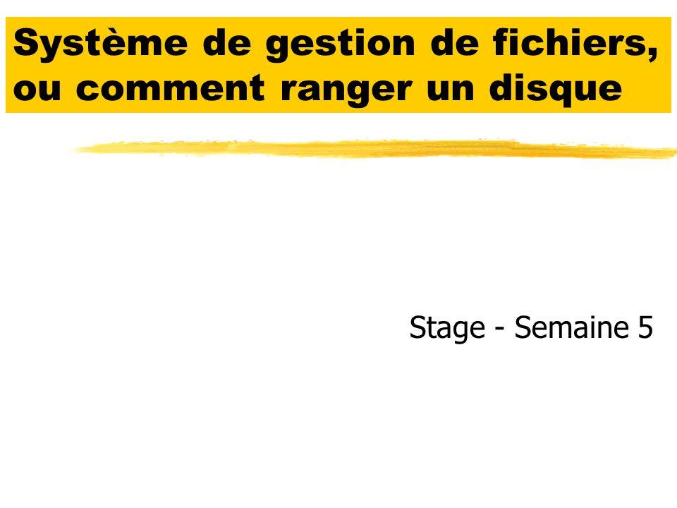Système de gestion de fichiers, ou comment ranger un disque Stage - Semaine 5
