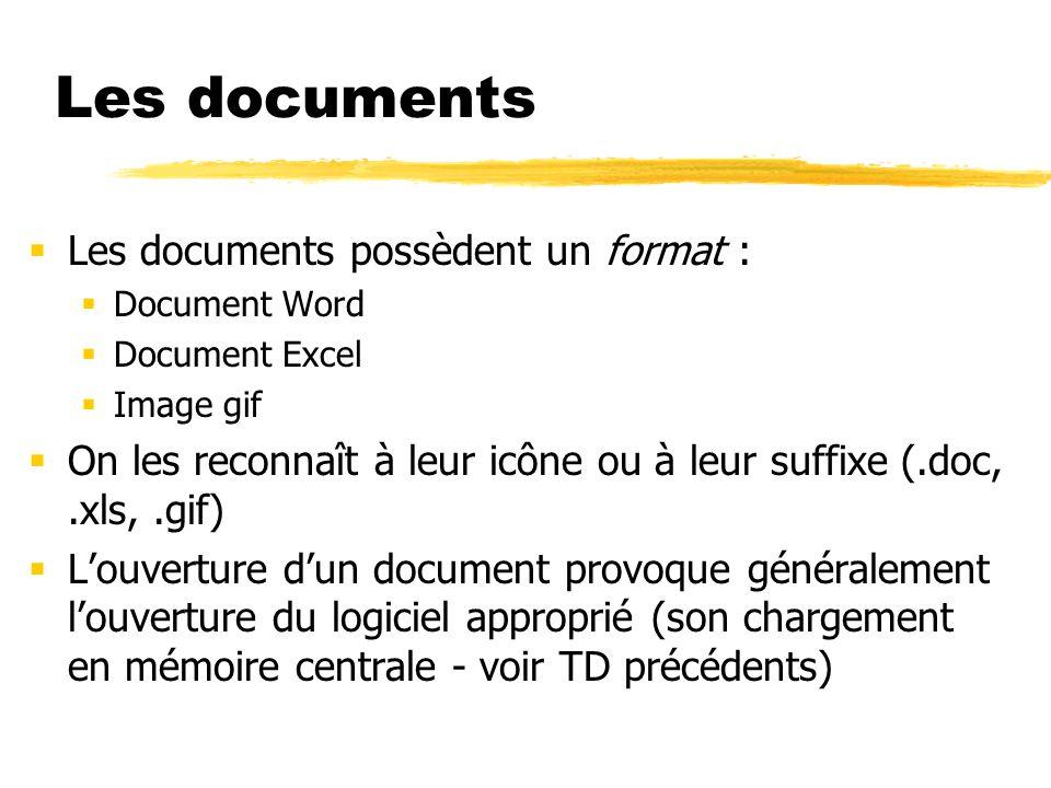 Les documents Les documents possèdent un format : Document Word Document Excel Image gif On les reconnaît à leur icône ou à leur suffixe (.doc,.xls,.gif) Louverture dun document provoque généralement louverture du logiciel approprié (son chargement en mémoire centrale - voir TD précédents)