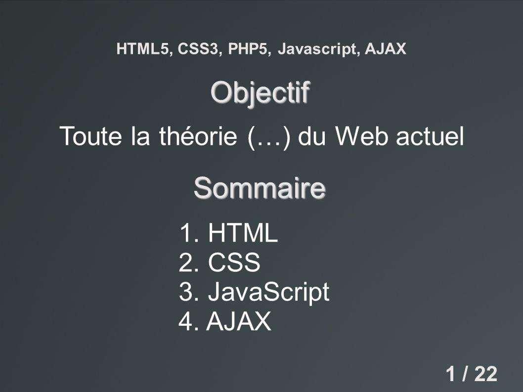 HTML5, CSS3, PHP5, Javascript, AJAX 1. HTML 2. CSS 3. JavaScript 4. AJAX Toute la théorie (…) du Web actuel Objectif Sommaire 1 / 22