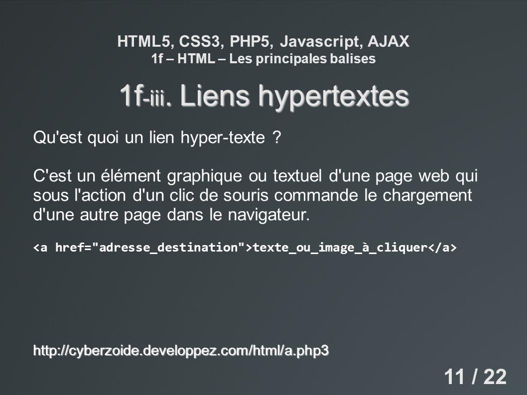 HTML5, CSS3, PHP5, Javascript, AJAX 1f – HTML – Les principales balises 1f -iii. Liens hypertextes Qu'est quoi un lien hyper-texte ? C'est un élément