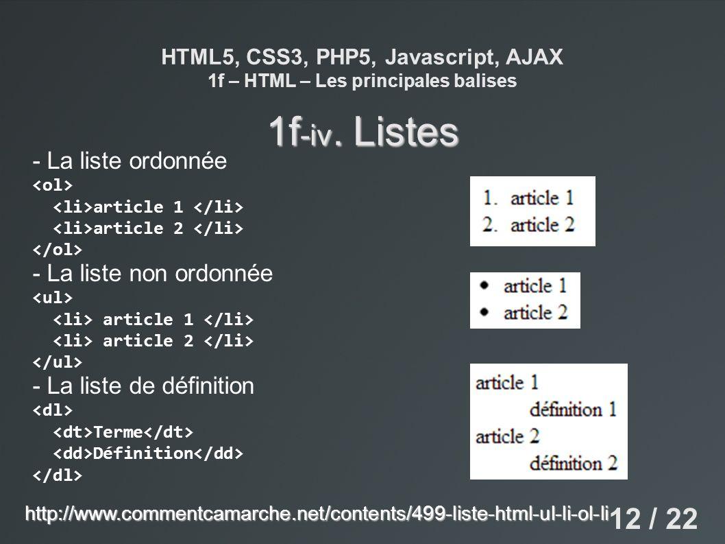 HTML5, CSS3, PHP5, Javascript, AJAX 1f – HTML – Les principales balises 1f -iv. Listes - La liste ordonnée article 1 article 2 - La liste non ordonnée
