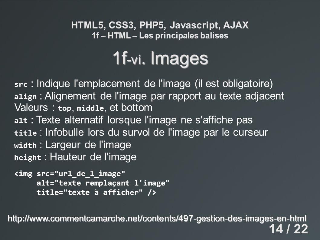 HTML5, CSS3, PHP5, Javascript, AJAX 1f – HTML – Les principales balises 1f -vi. Images src : Indique l'emplacement de l'image (il est obligatoire) ali