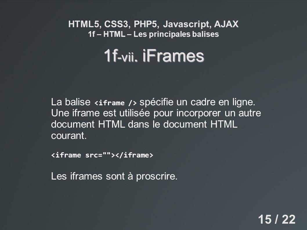 HTML5, CSS3, PHP5, Javascript, AJAX 1f – HTML – Les principales balises 1f -vii. iFrames La balise spécifie un cadre en ligne. Une iframe est utilisée