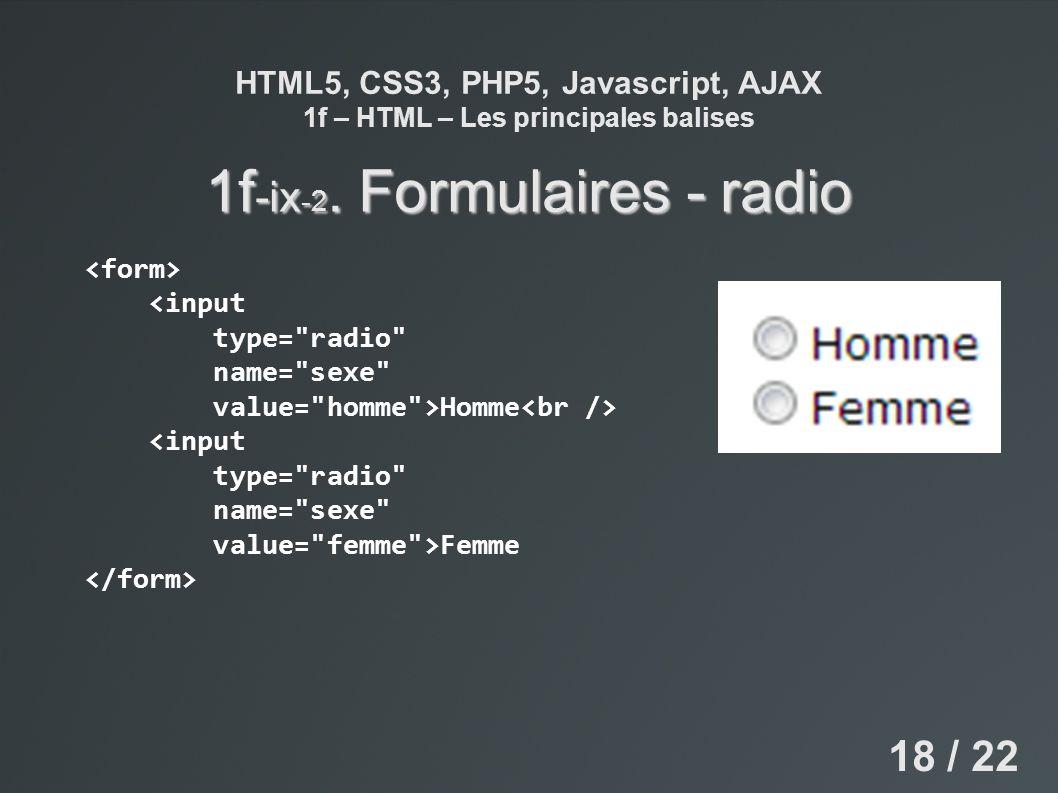 HTML5, CSS3, PHP5, Javascript, AJAX 1f – HTML – Les principales balises 1f -ix -2. Formulaires - radio <input type=