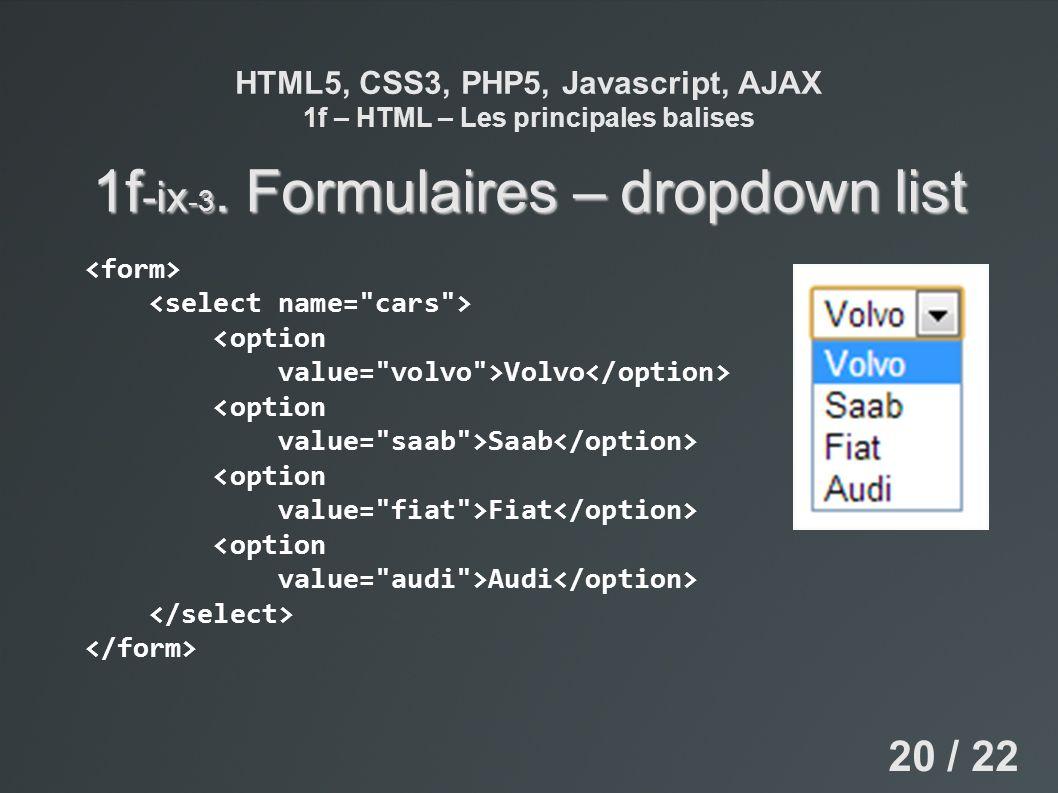 HTML5, CSS3, PHP5, Javascript, AJAX 1f – HTML – Les principales balises 1f -ix -3. Formulaires – dropdown list 20 / 22 <option value=