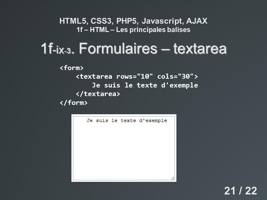 HTML5, CSS3, PHP5, Javascript, AJAX 1f – HTML – Les principales balises 1f -ix -3. Formulaires – textarea 21 / 22 Je suis le texte d'exemple