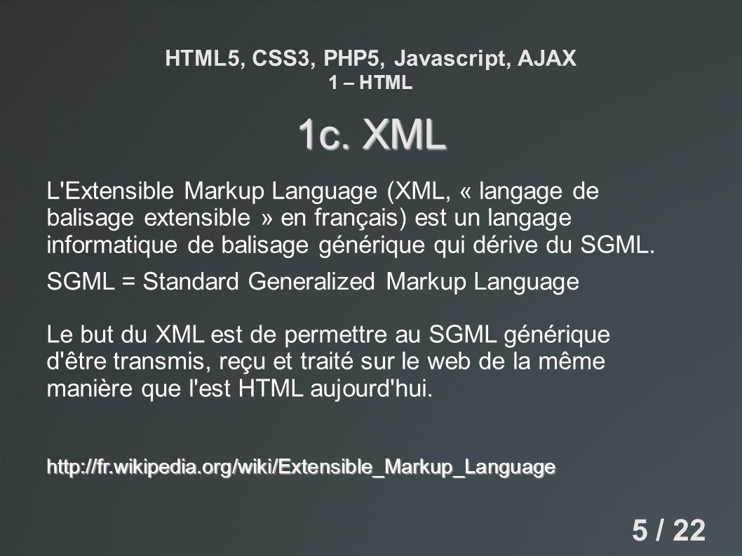 HTML5, CSS3, PHP5, Javascript, AJAX 1 – HTML 1c. XML L'Extensible Markup Language (XML, « langage de balisage extensible » en français) est un langage