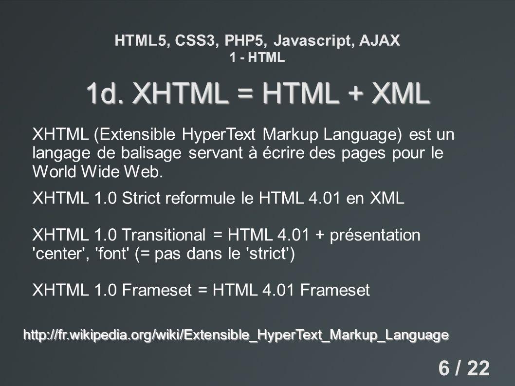 HTML5, CSS3, PHP5, Javascript, AJAX 1 - HTML 1d. XHTML = HTML + XML XHTML (Extensible HyperText Markup Language) est un langage de balisage servant à