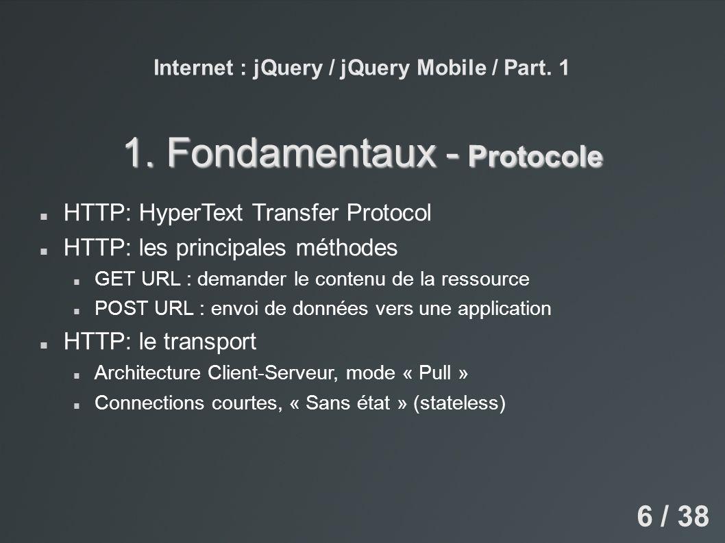 Internet : jQuery / jQuery Mobile / Part. 1 4. Json / Ajax – Ajax 27 / 38