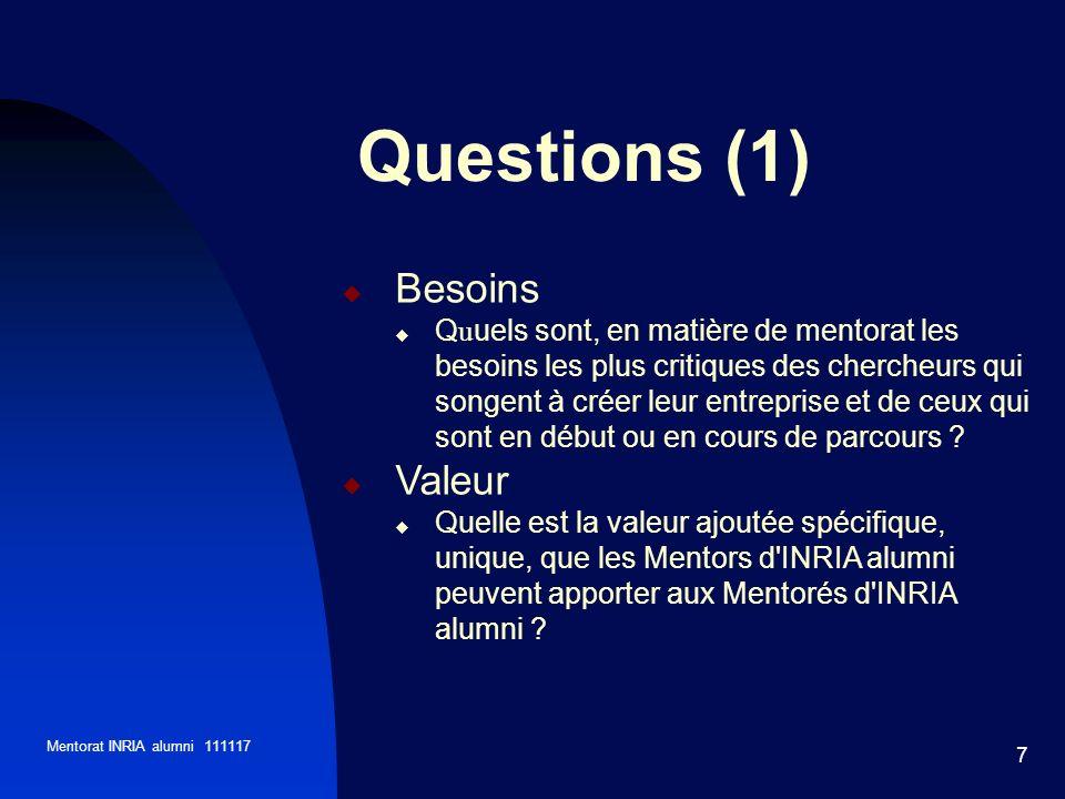 Mentorat INRIA alumni 111117 7 Questions (1) Besoins Q u uels sont, en matière de mentorat les besoins les plus critiques des chercheurs qui songent à créer leur entreprise et de ceux qui sont en début ou en cours de parcours .
