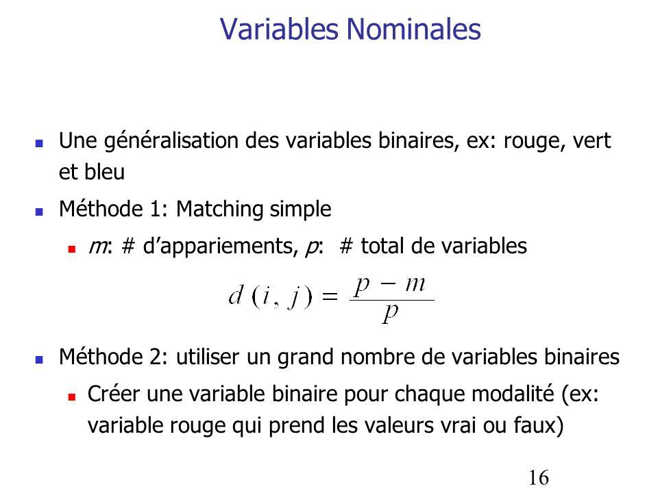 16 Variables Nominales Une généralisation des variables binaires, ex: rouge, vert et bleu Méthode 1: Matching simple m: # dappariements, p: # total de