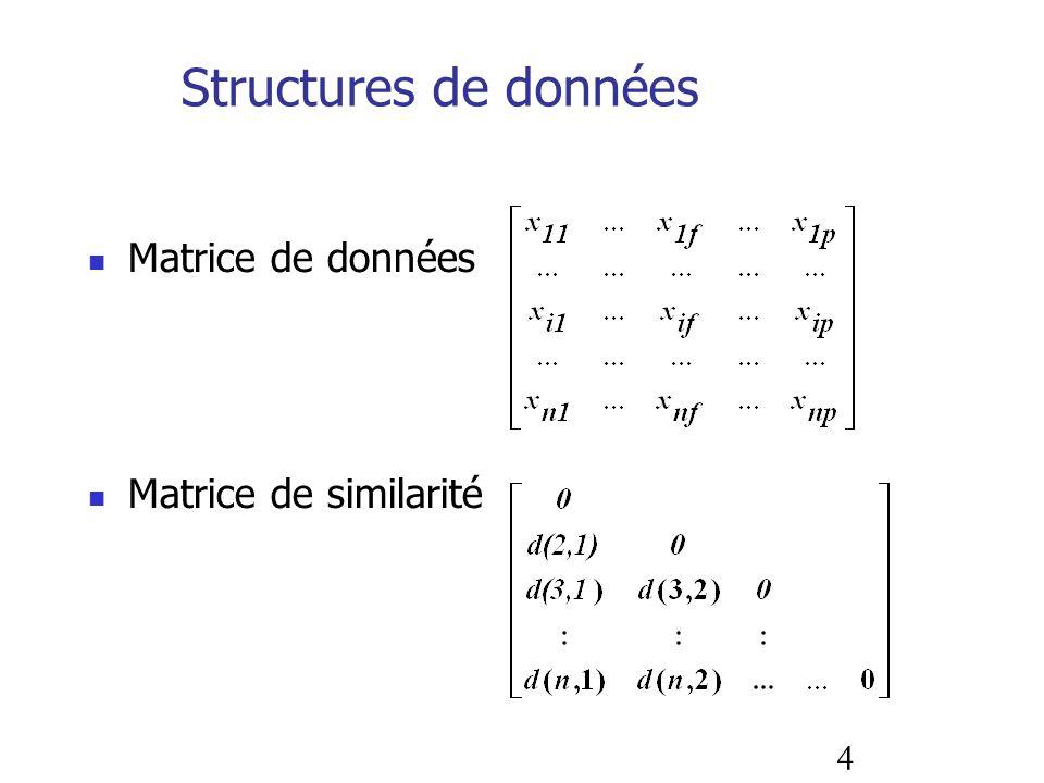 4 Structures de données Matrice de données Matrice de similarité