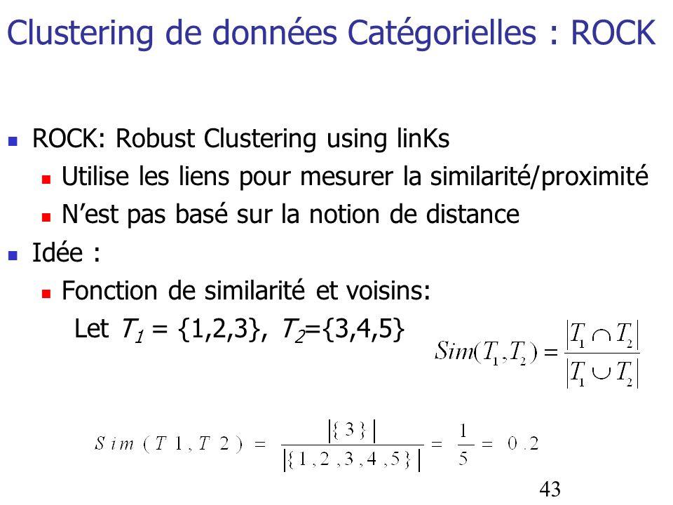 43 Clustering de données Catégorielles : ROCK ROCK: Robust Clustering using linKs Utilise les liens pour mesurer la similarité/proximité Nest pas basé
