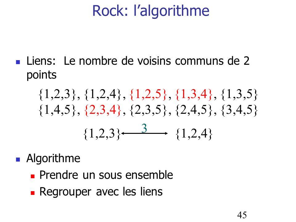 45 Rock: lalgorithme Liens: Le nombre de voisins communs de 2 points Algorithme Prendre un sous ensemble Regrouper avec les liens {1,2,3}, {1,2,4}, {1