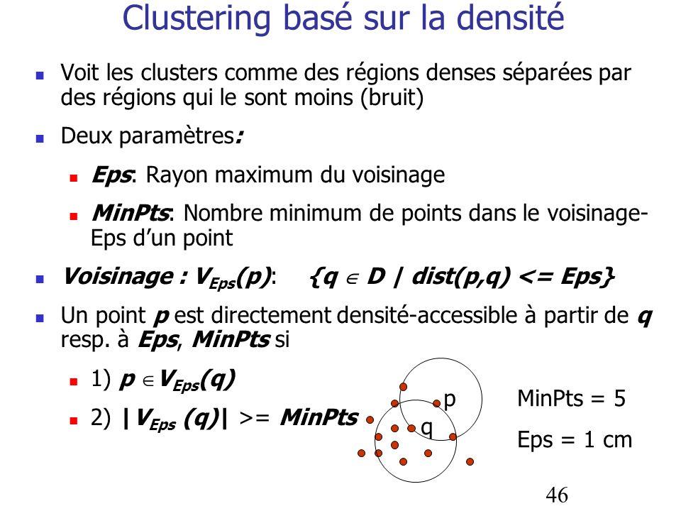46 Clustering basé sur la densité Voit les clusters comme des régions denses séparées par des régions qui le sont moins (bruit) Deux paramètres: Eps: