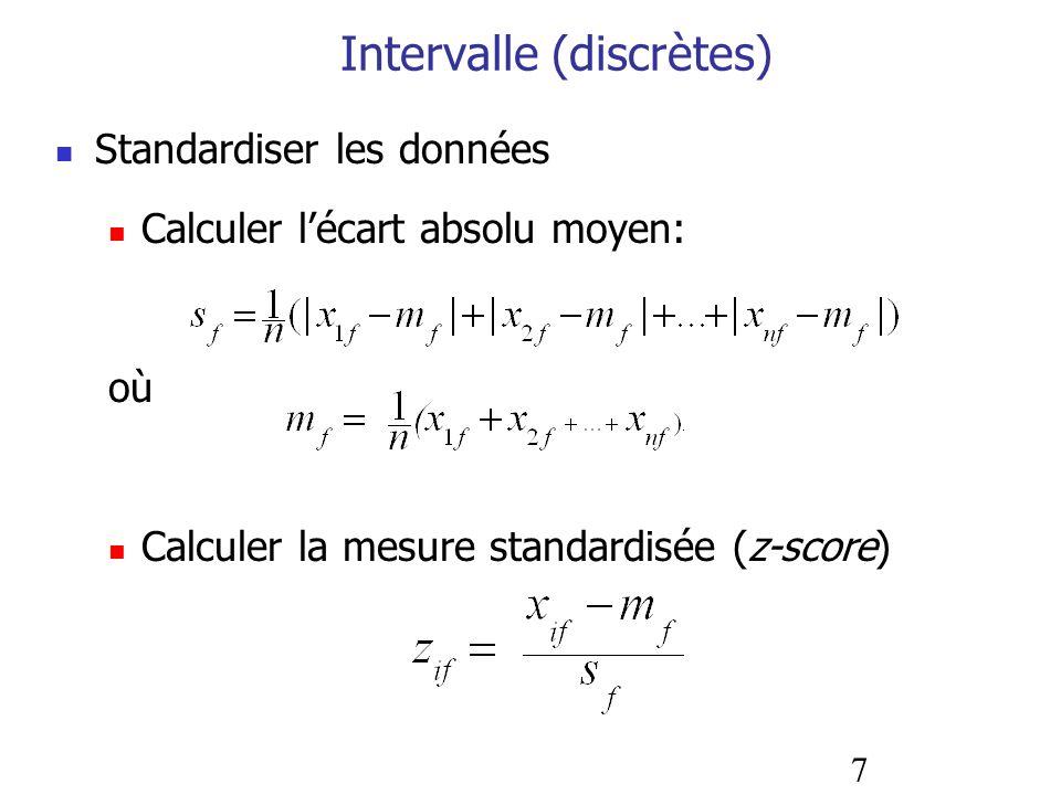 7 Intervalle (discrètes) Standardiser les données Calculer lécart absolu moyen: où Calculer la mesure standardisée (z-score)