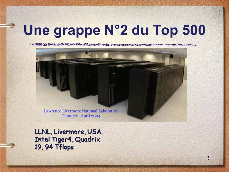 13 Une grappe N°2 du Top 500 LLNL, Livermore, USA. Intel Tiger4, Quadrix 19, 94 Tflops