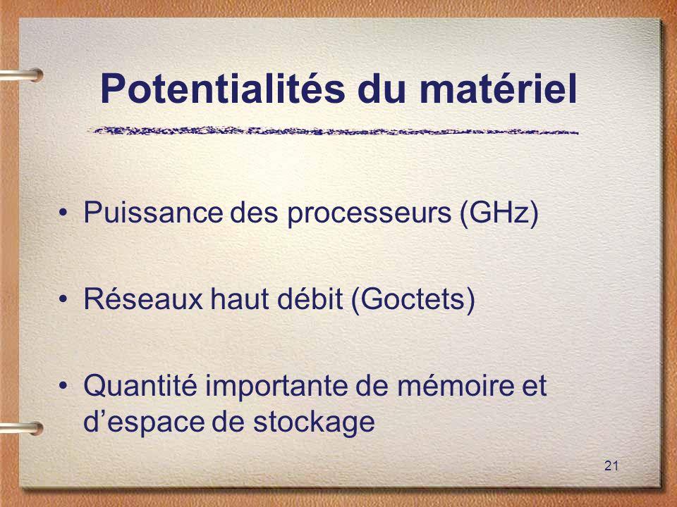 21 Potentialités du matériel Puissance des processeurs (GHz) Réseaux haut débit (Goctets) Quantité importante de mémoire et despace de stockage