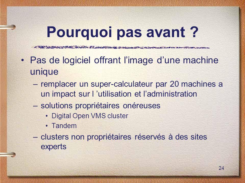 24 Pourquoi pas avant ? Pas de logiciel offrant limage dune machine unique –remplacer un super-calculateur par 20 machines a un impact sur l utilisati